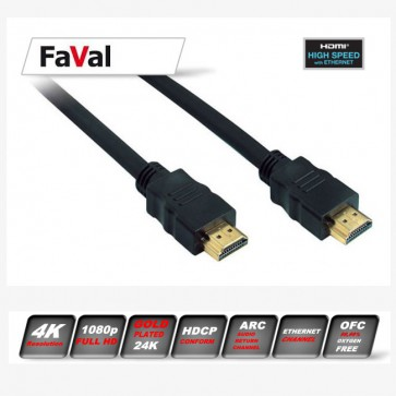 FaVal HDMI Kabel 1,0m Highspeed 2.0
